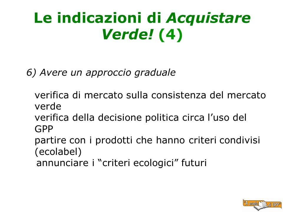 Le indicazioni di Acquistare Verde! (4) 6) Avere un approccio graduale verifica di mercato sulla consistenza del mercato verde verifica della decision