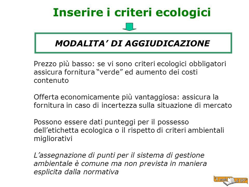 Inserire i criteri ecologici MODALITA DI AGGIUDICAZIONE Prezzo più basso: se vi sono criteri ecologici obbligatori assicura fornitura verde ed aumento