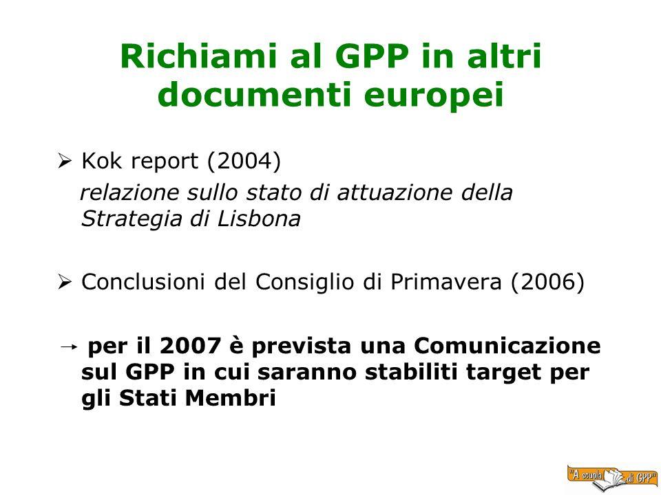 Richiami al GPP in altri documenti europei Kok report (2004) relazione sullo stato di attuazione della Strategia di Lisbona Conclusioni del Consiglio