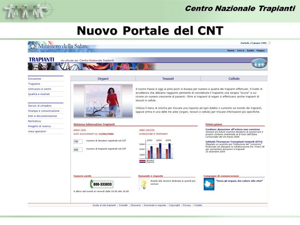 Centro Nazionale Trapianti Nuovo Portale del CNT