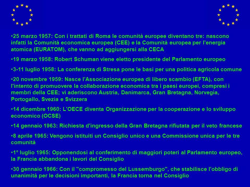 25 marzo 1957: Con i trattati di Roma le comunità europee diventano tre: nascono infatti la Comunità economica europea (CEE) e la Comunità europea per