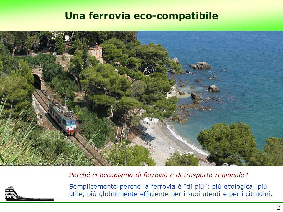 2 Una ferrovia eco-compatibile Perché ci occupiamo di ferrovia e di trasporto regionale? Semplicemente perché la ferrovia è di più: più ecologica, più