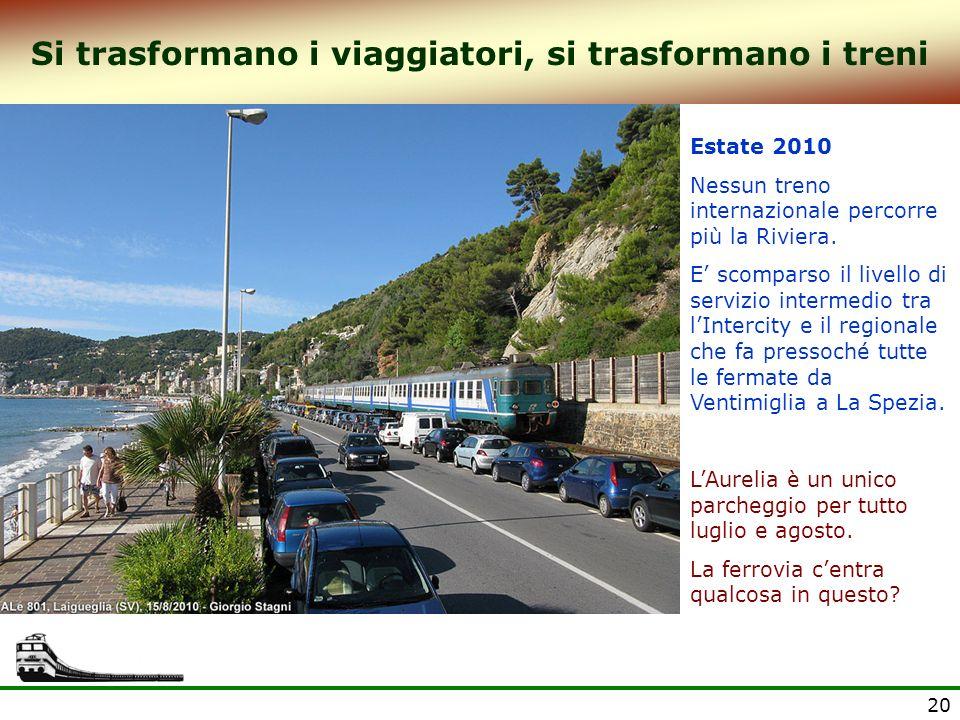 20 Si trasformano i viaggiatori, si trasformano i treni Estate 2010 Nessun treno internazionale percorre più la Riviera. E scomparso il livello di ser