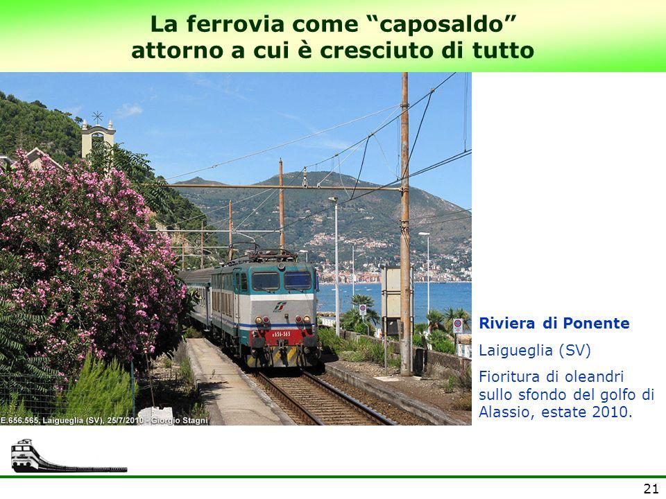 21 La ferrovia come caposaldo attorno a cui è cresciuto di tutto Riviera di Ponente Laigueglia (SV) Fioritura di oleandri sullo sfondo del golfo di Al
