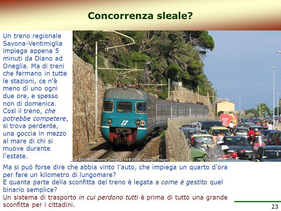 23 Un treno regionale Savona-Ventimiglia impiega appena 5 minuti da Diano ad Oneglia. Ma di treni che fermano in tutte le stazioni, ce n'è meno di uno