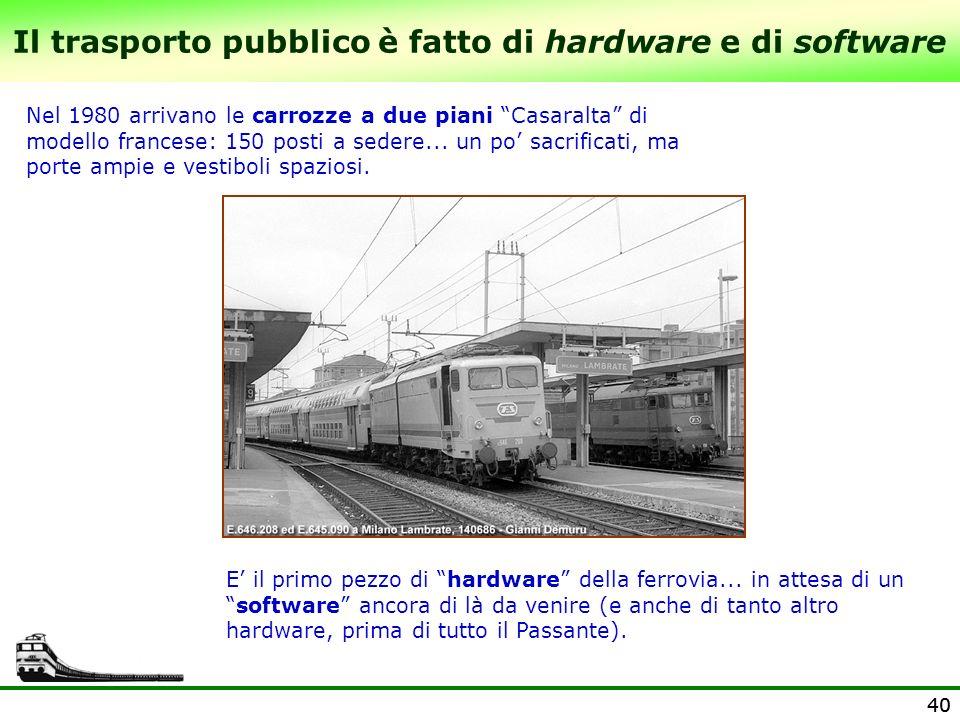 40 Il trasporto pubblico è fatto di hardware e di software Nel 1980 arrivano le carrozze a due piani Casaralta di modello francese: 150 posti a sedere
