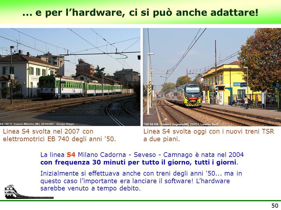 50... e per lhardware, ci si può anche adattare! Linea S4 svolta nel 2007 con elettromotrici EB 740 degli anni '50. La linea S4 Milano Cadorna - Seves