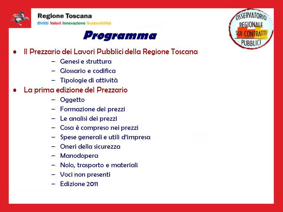 Programma Il Prezzario dei Lavori Pubblici della Regione Toscana –Genesi e struttura –Glossario e codifica –Tipologie di attività La prima edizione de