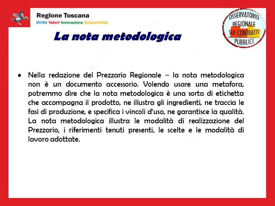 La nota metodologica Nella redazione del Prezzario Regionale – la nota metodologica non è un documento accessorio. Volendo usare una metafora, potremm