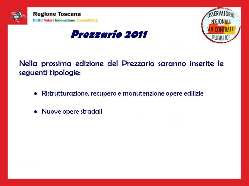 Prezzario 2011 Nella prossima edizione del Prezzario saranno inserite le seguenti tipologie: Ristrutturazione, recupero e manutenzione opere edilizie