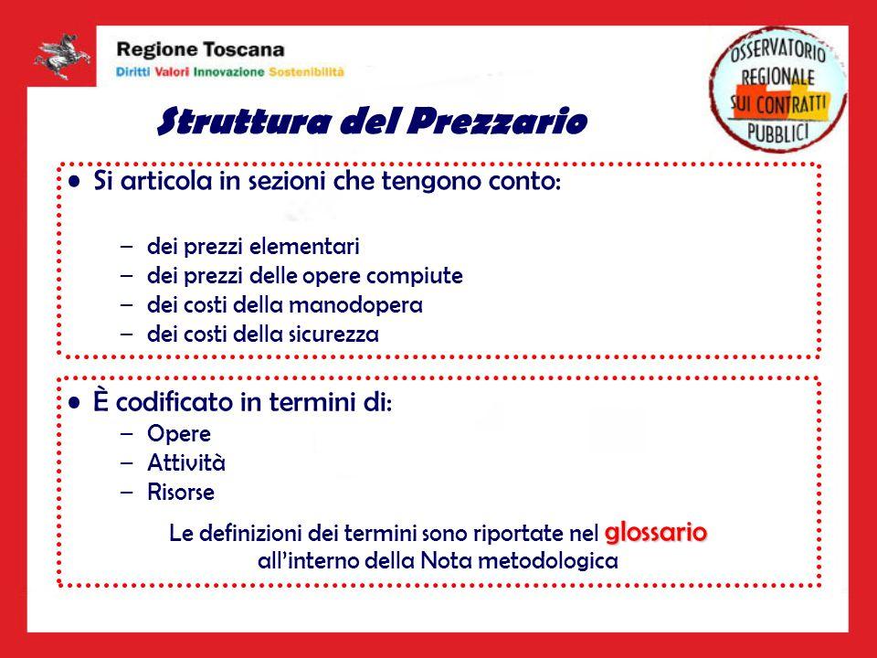 Struttura del Prezzario La codifica del Prezzario della Regione Toscana fa riferimento al processo produttivo delle opere –Lobiettivo della codifica è la scomposizione del sistema costruttivo in parti fisiche elementari in modo da associare in maniera univoca la descrizione qualitativa della lavorazione al suo prezzo unitario