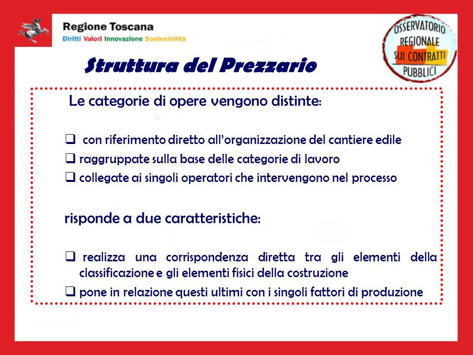 Struttura del Prezzario Le categorie di opere vengono distinte : con riferimento diretto allorganizzazione del cantiere edile raggruppate sulla base d