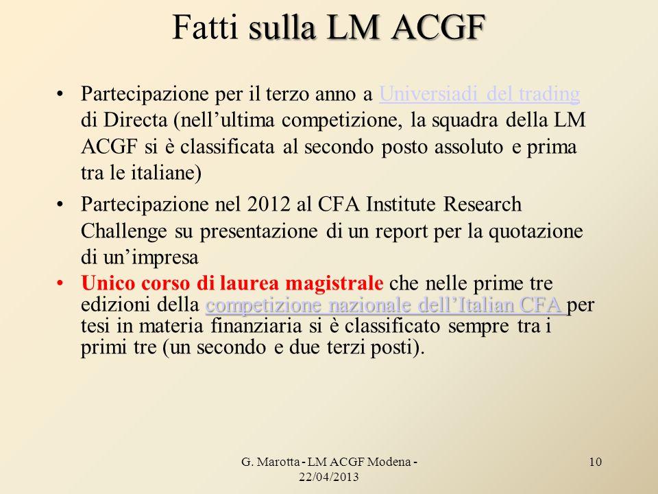 G. Marotta - LM ACGF Modena - 22/04/2013 10 sulla LM ACGF Fatti sulla LM ACGF Partecipazione per il terzo anno a Universiadi del trading di Directa (n