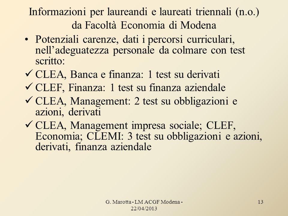 Informazioni per laureandi e laureati triennali (n.o.) da Facoltà Economia di Modena Potenziali carenze, dati i percorsi curriculari, nelladeguatezza
