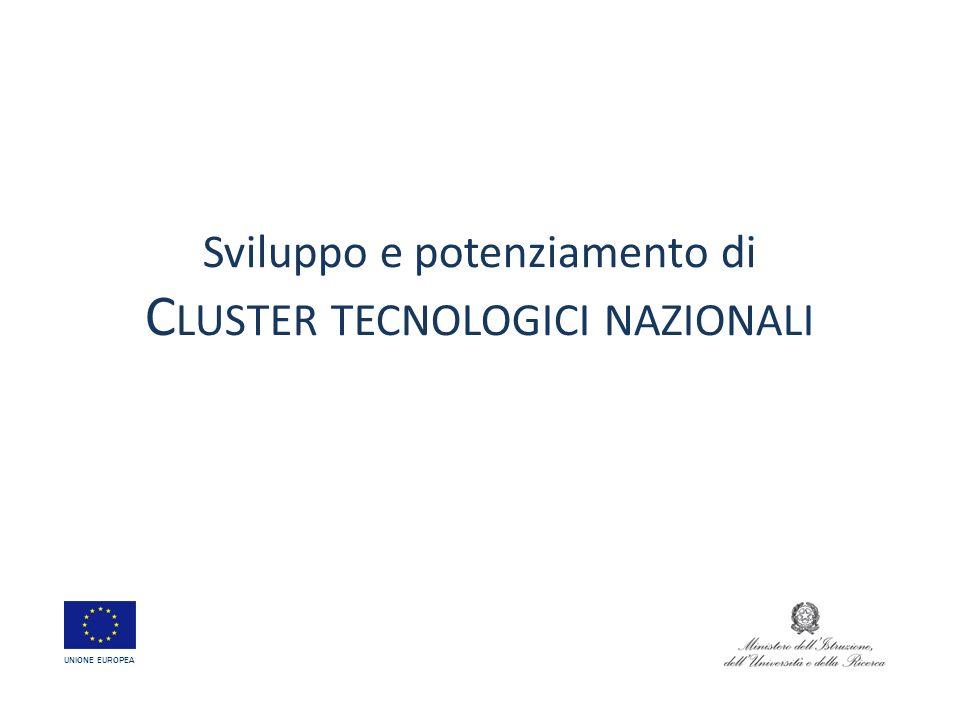 Sviluppo e potenziamento di C LUSTER TECNOLOGICI NAZIONALI UNIONE EUROPEA