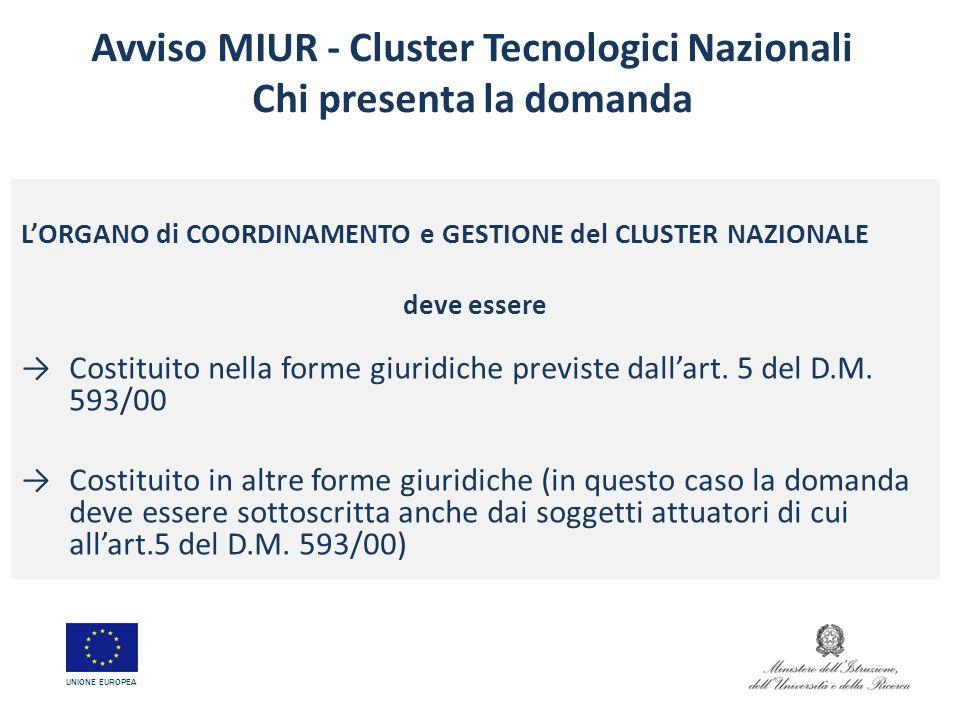 Avviso MIUR - Cluster Tecnologici Nazionali Chi presenta la domanda LORGANO di COORDINAMENTO e GESTIONE del CLUSTER NAZIONALE deve essere Costituito n