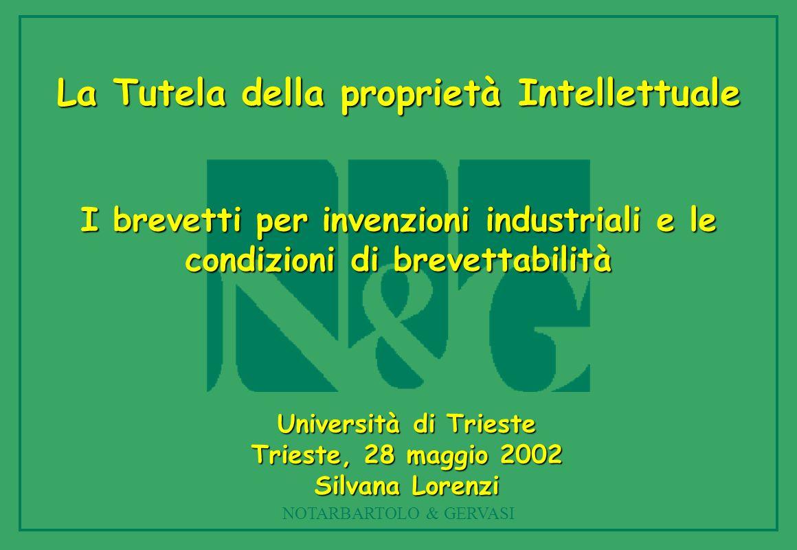 NOTARBARTOLO & GERVASI La Tutela della proprietà Intellettuale I brevetti per invenzioni industriali e le condizioni di brevettabilità Università di T