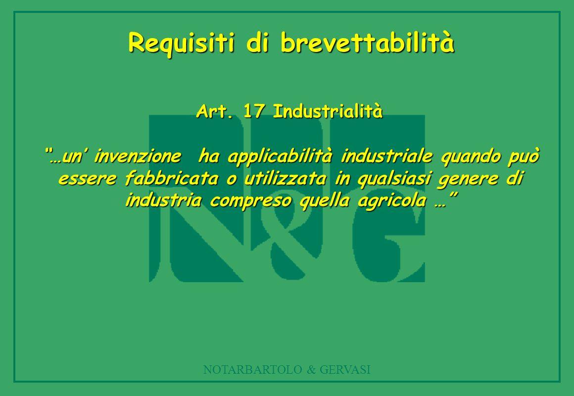 NOTARBARTOLO & GERVASI Art. 17 Industrialità …un invenzione ha applicabilità industriale quando può essere fabbricata o utilizzata in qualsiasi genere