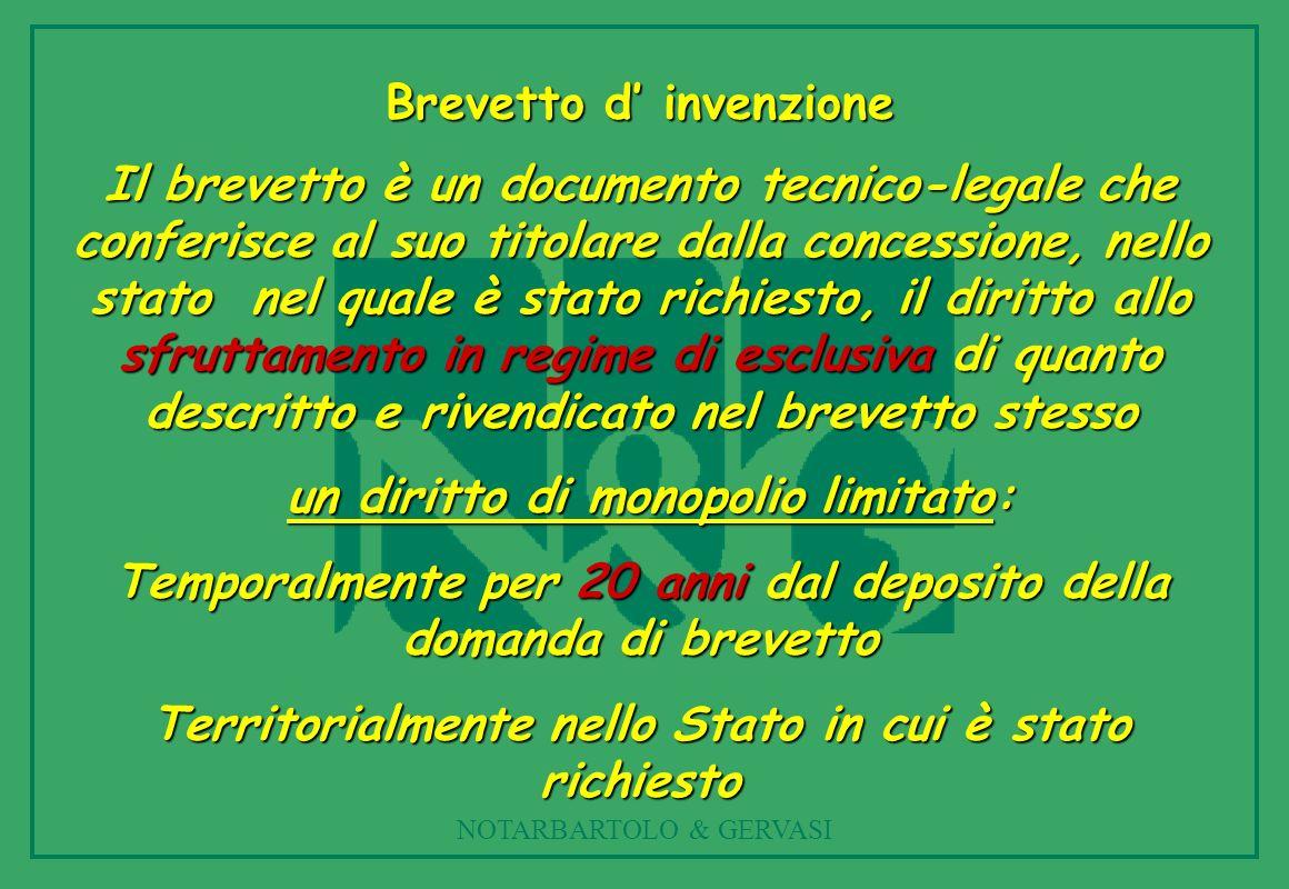 NOTARBARTOLO & GERVASI Brevetto d invenzione Il brevetto è un documento tecnico-legale che conferisce al suo titolare dalla concessione, nello stato n
