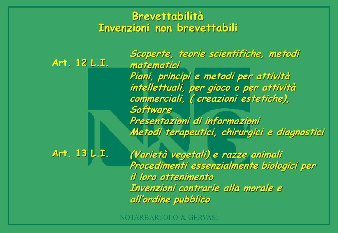 NOTARBARTOLO & GERVASI Brevettabilità Invenzioni non brevettabili Scoperte, teorie scientifiche, metodi matematici Piani, principi e metodi per attivi