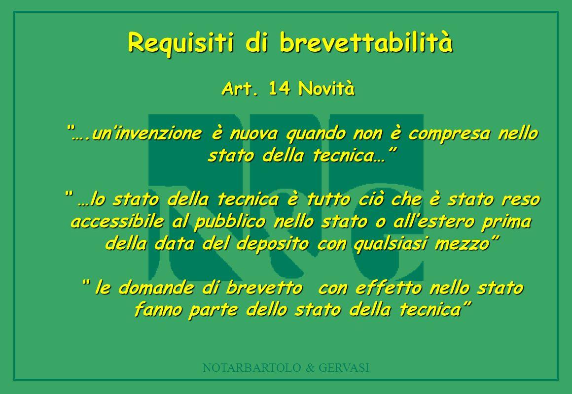 NOTARBARTOLO & GERVASI Art. 14 Novità ….uninvenzione è nuova quando non è compresa nello stato della tecnica… …lo stato della tecnica è tutto ciò che