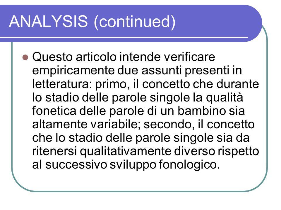 ANALYSIS (continued) Questo articolo intende verificare empiricamente due assunti presenti in letteratura: primo, il concetto che durante lo stadio de