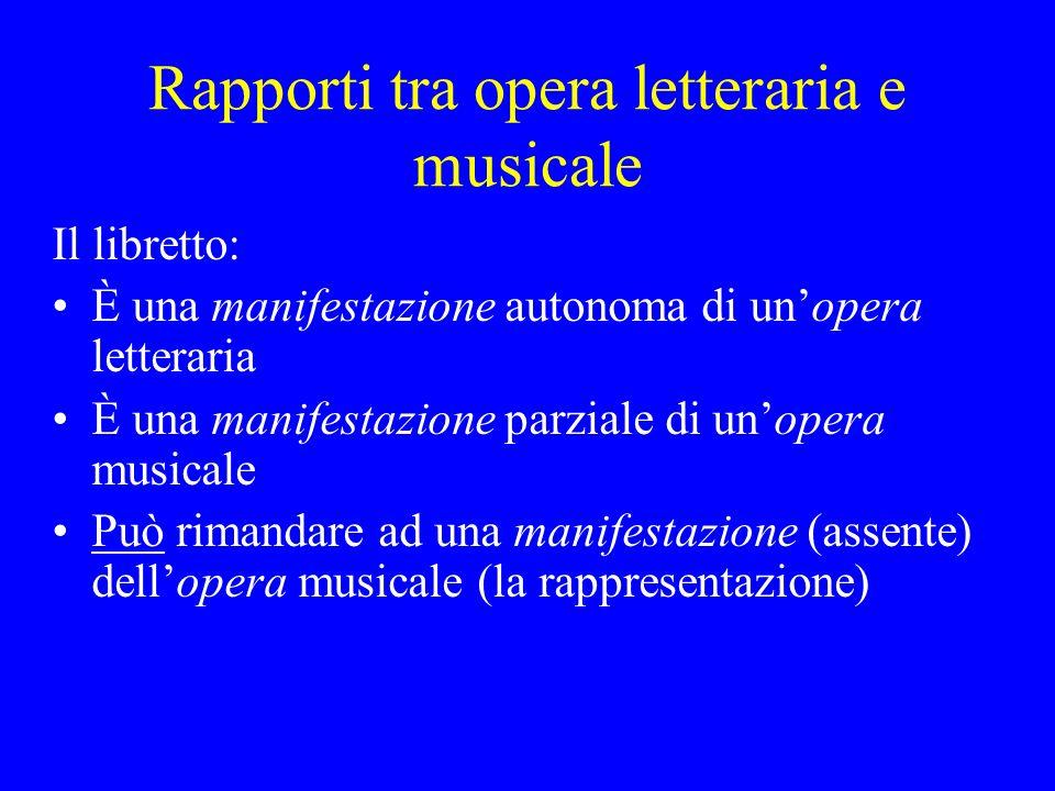 Rapporti tra opera letteraria e musicale Il libretto: È una manifestazione autonoma di unopera letteraria È una manifestazione parziale di unopera mus