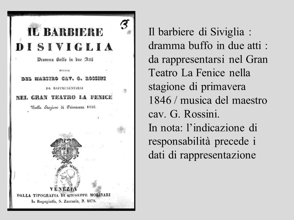 Il barbiere di Siviglia : dramma buffo in due atti : da rappresentarsi nel Gran Teatro La Fenice nella stagione di primavera 1846 / musica del maestro