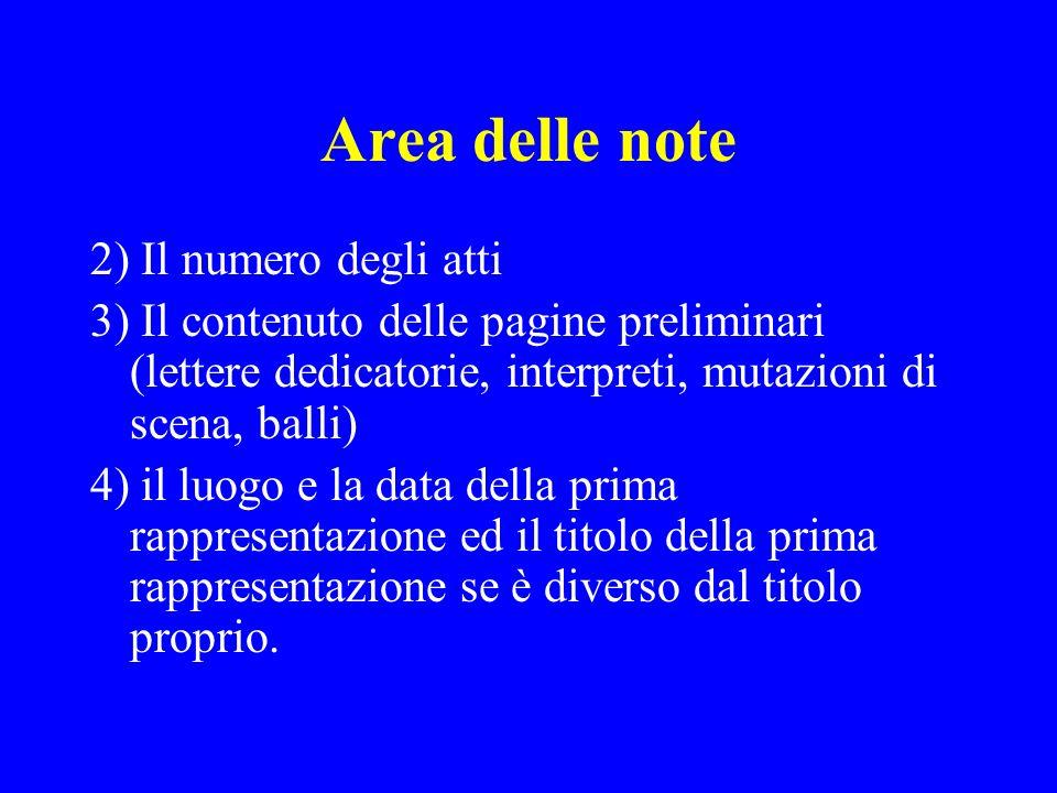 Area delle note 2) Il numero degli atti 3) Il contenuto delle pagine preliminari (lettere dedicatorie, interpreti, mutazioni di scena, balli) 4) il lu