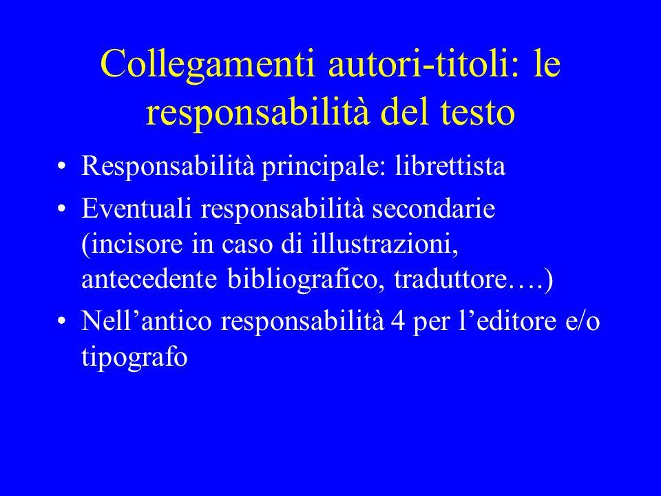 Collegamenti autori-titoli: le responsabilità del testo Responsabilità principale: librettista Eventuali responsabilità secondarie (incisore in caso d