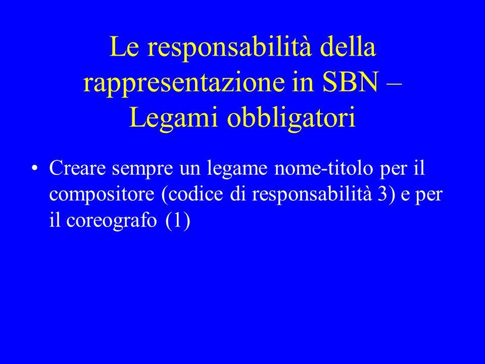 Le responsabilità della rappresentazione in SBN – Legami obbligatori Creare sempre un legame nome-titolo per il compositore (codice di responsabilità