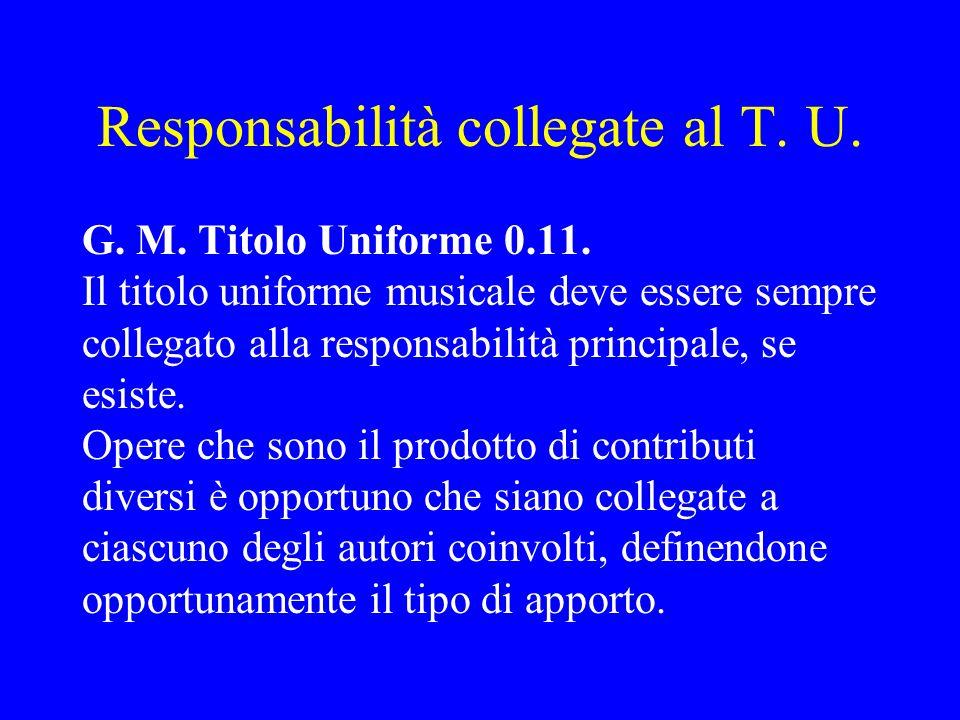 Responsabilità collegate al T. U. G. M. Titolo Uniforme 0.11. Il titolo uniforme musicale deve essere sempre collegato alla responsabilità principale,