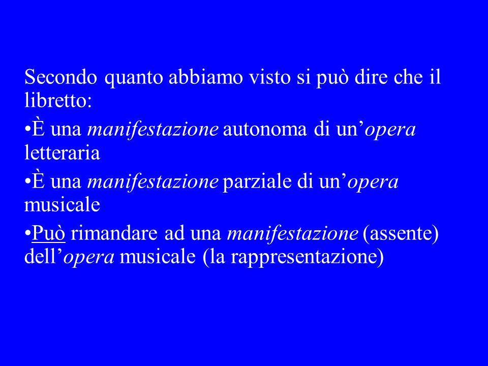 Secondo quanto abbiamo visto si può dire che il libretto: È una manifestazione autonoma di unopera letteraria È una manifestazione parziale di unopera