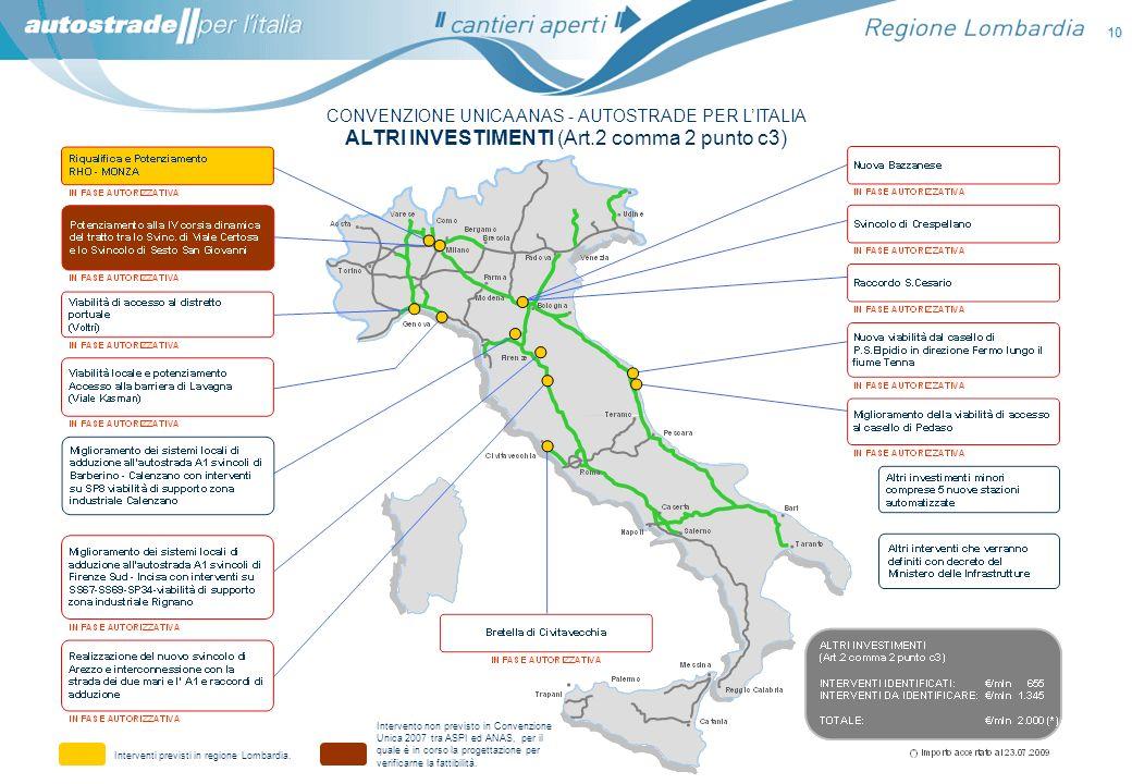 CONVENZIONE UNICA ANAS - AUTOSTRADE PER LITALIA ALTRI INVESTIMENTI (Art.2 comma 2 punto c3) 10 Interventi previsti in regione Lombardia. Intervento no
