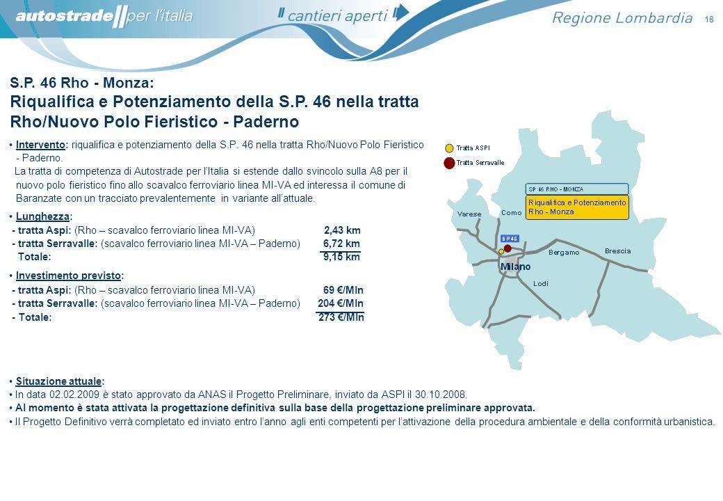 S.P. 46 Rho - Monza: Riqualifica e Potenziamento della S.P. 46 nella tratta Rho/Nuovo Polo Fieristico - Paderno Situazione attuale: In data 02.02.2009