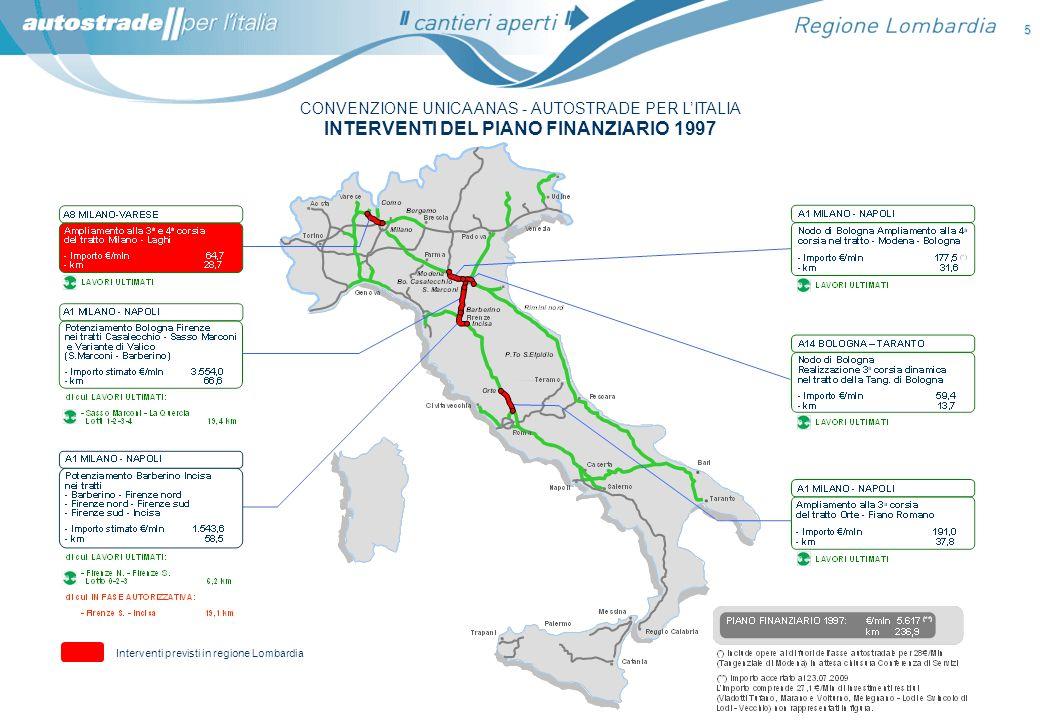 CONVENZIONE UNICA ANAS - AUTOSTRADE PER LITALIA INTERVENTI DEL PIANO FINANZIARIO 1997 5 Interventi previsti in regione Lombardia