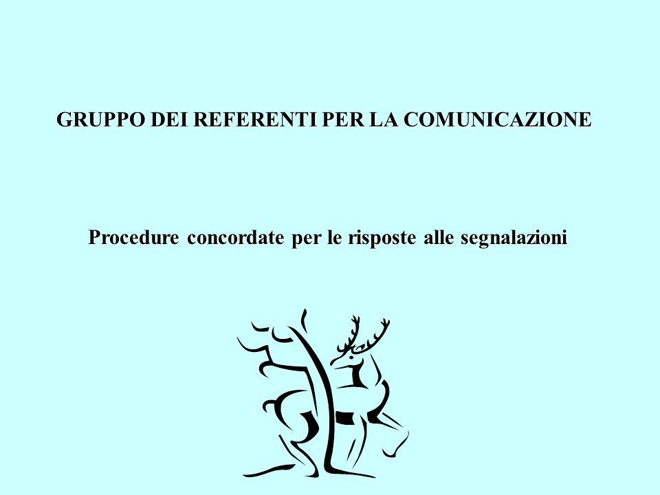 GRUPPO DEI REFERENTI PER LA COMUNICAZIONE Procedure concordate per le risposte alle segnalazioni