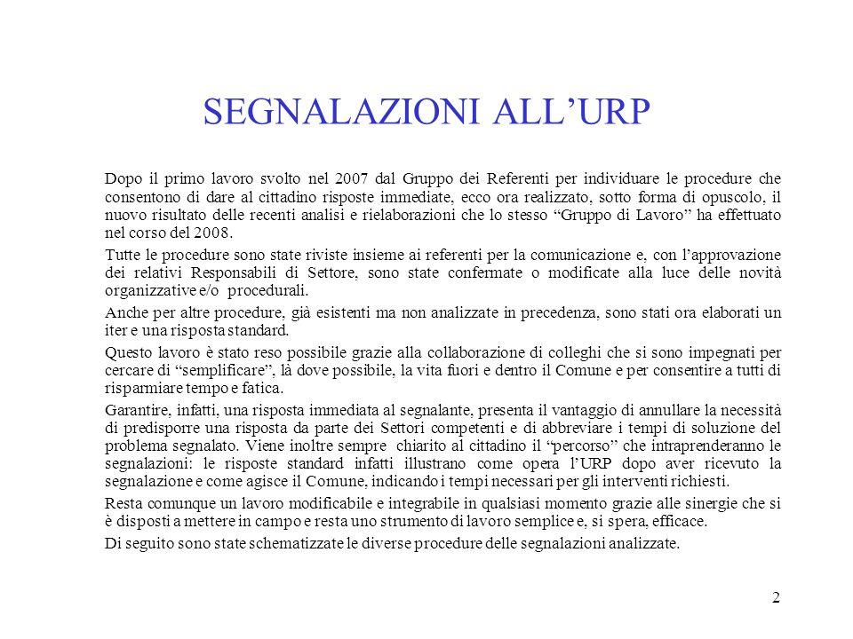 2 SEGNALAZIONI ALLURP Dopo il primo lavoro svolto nel 2007 dal Gruppo dei Referenti per individuare le procedure che consentono di dare al cittadino r