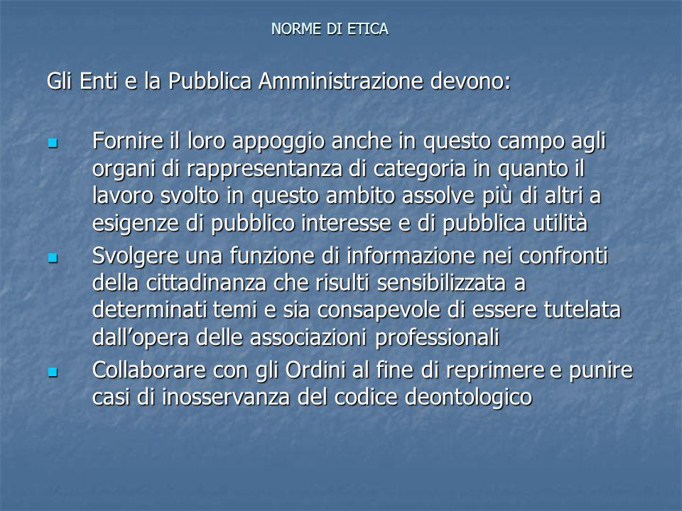 NORME DI ETICA Gli Enti e la Pubblica Amministrazione devono: Fornire il loro appoggio anche in questo campo agli organi di rappresentanza di categori