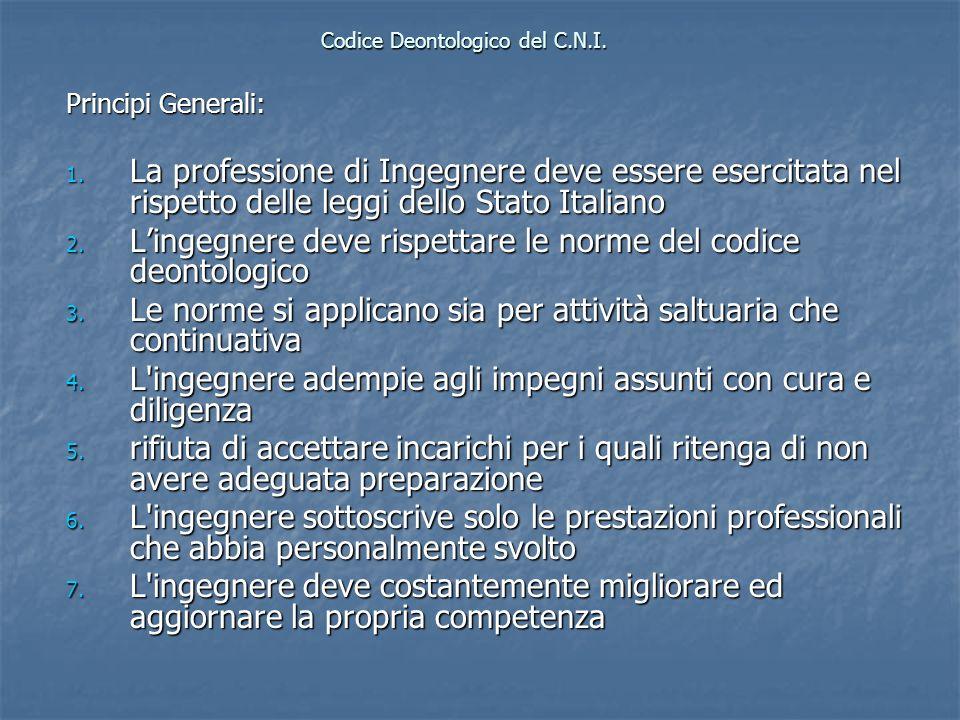 Codice Deontologico del C.N.I. Principi Generali: 1. La professione di Ingegnere deve essere esercitata nel rispetto delle leggi dello Stato Italiano