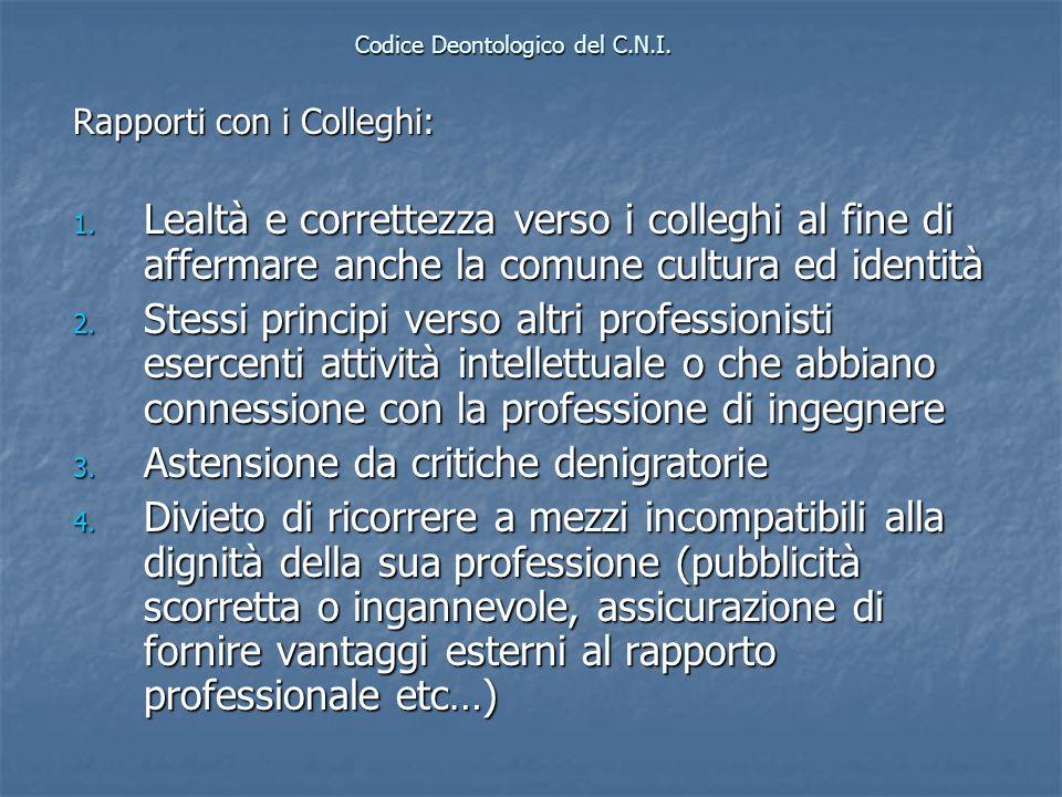 Codice Deontologico del C.N.I. Rapporti con i Colleghi: 1. Lealtà e correttezza verso i colleghi al fine di affermare anche la comune cultura ed ident