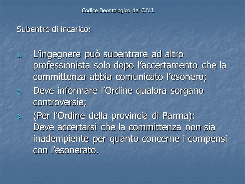 Codice Deontologico del C.N.I. Subentro di incarico: 1. Lingegnere può subentrare ad altro professionista solo dopo laccertamento che la committenza a