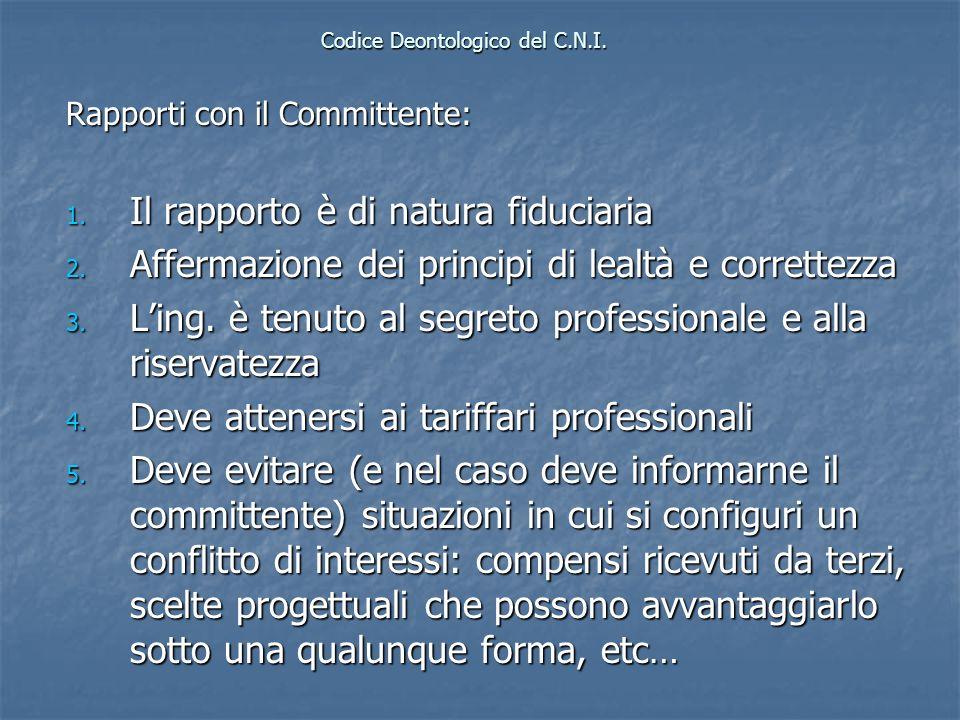 Codice Deontologico del C.N.I. Rapporti con il Committente: 1. Il rapporto è di natura fiduciaria 2. Affermazione dei principi di lealtà e correttezza