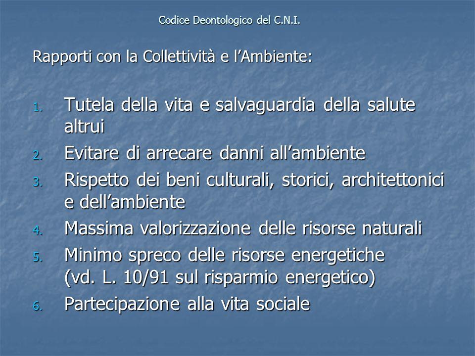 Codice Deontologico del C.N.I. Rapporti con la Collettività e lAmbiente: 1. Tutela della vita e salvaguardia della salute altrui 2. Evitare di arrecar