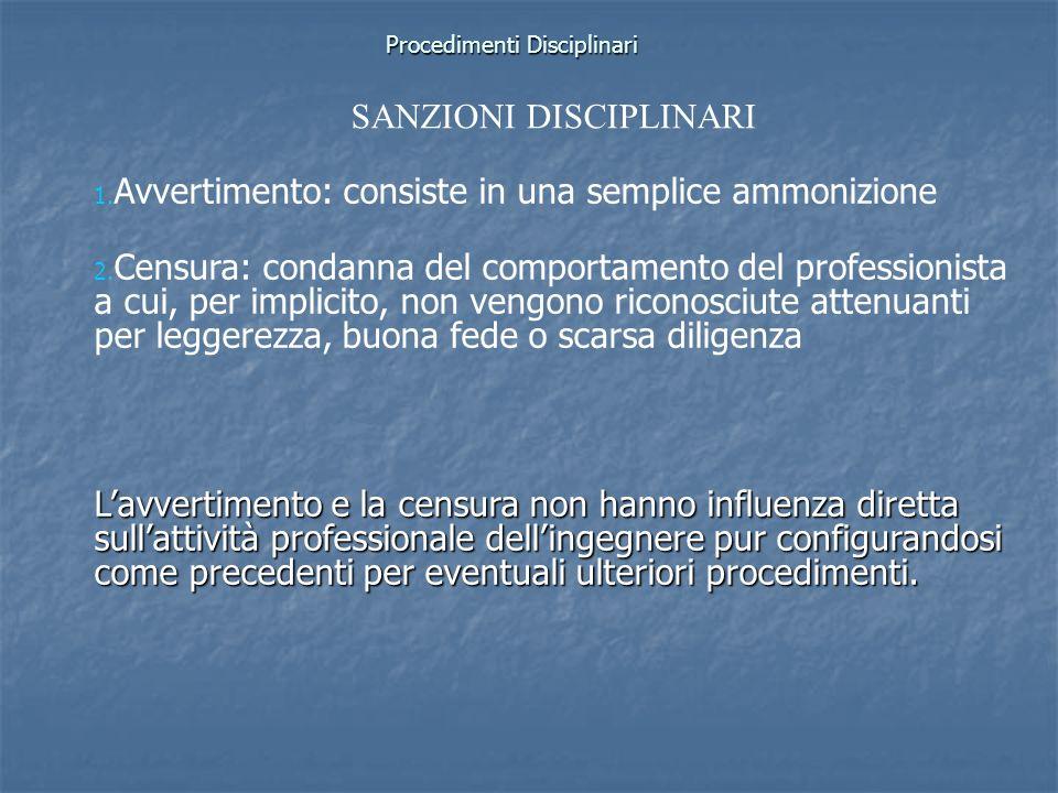 Procedimenti Disciplinari 1. 1. Avvertimento: consiste in una semplice ammonizione 2. 2. Censura: condanna del comportamento del professionista a cui,