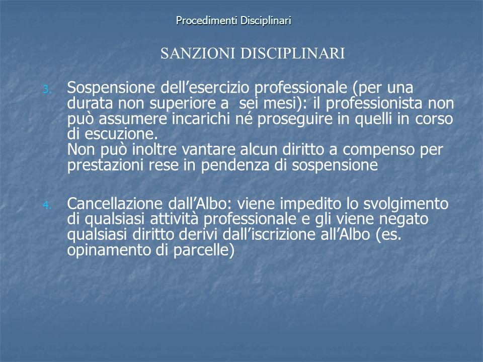 Procedimenti Disciplinari 3. 3. Sospensione dellesercizio professionale (per una durata non superiore a sei mesi): il professionista non può assumere