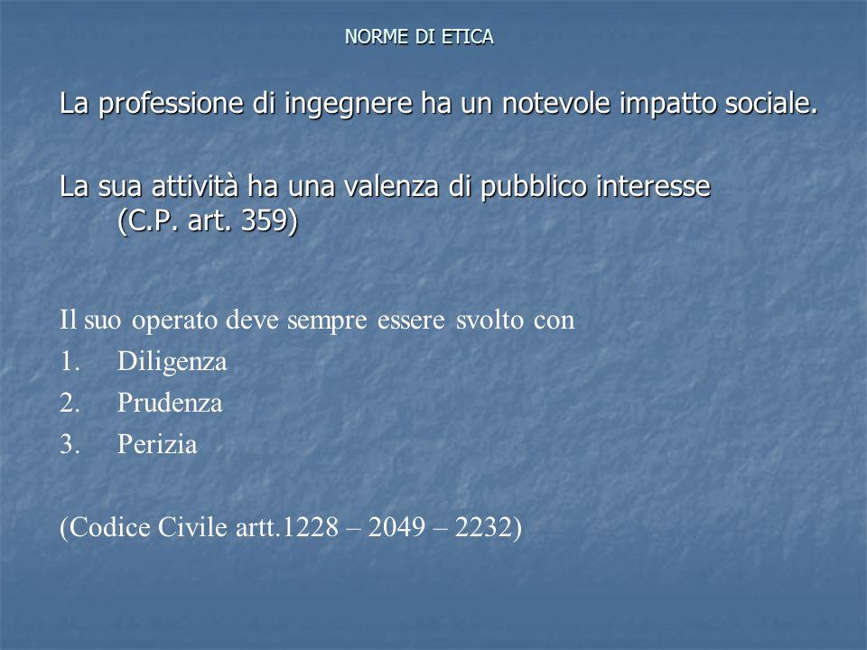 NORME DI ETICA La professione di ingegnere ha un notevole impatto sociale. La sua attività ha una valenza di pubblico interesse (C.P. art. 359) Il suo
