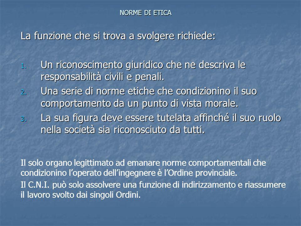 NORME DI ETICA La funzione che si trova a svolgere richiede: 1. Un riconoscimento giuridico che ne descriva le responsabilità civili e penali. 2. Una