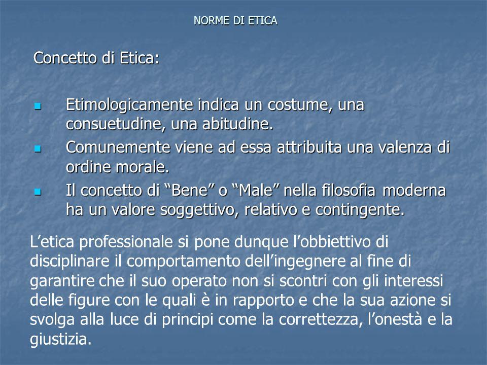 NORME DI ETICA Concetto di Etica: Etimologicamente indica un costume, una consuetudine, una abitudine. Etimologicamente indica un costume, una consuet