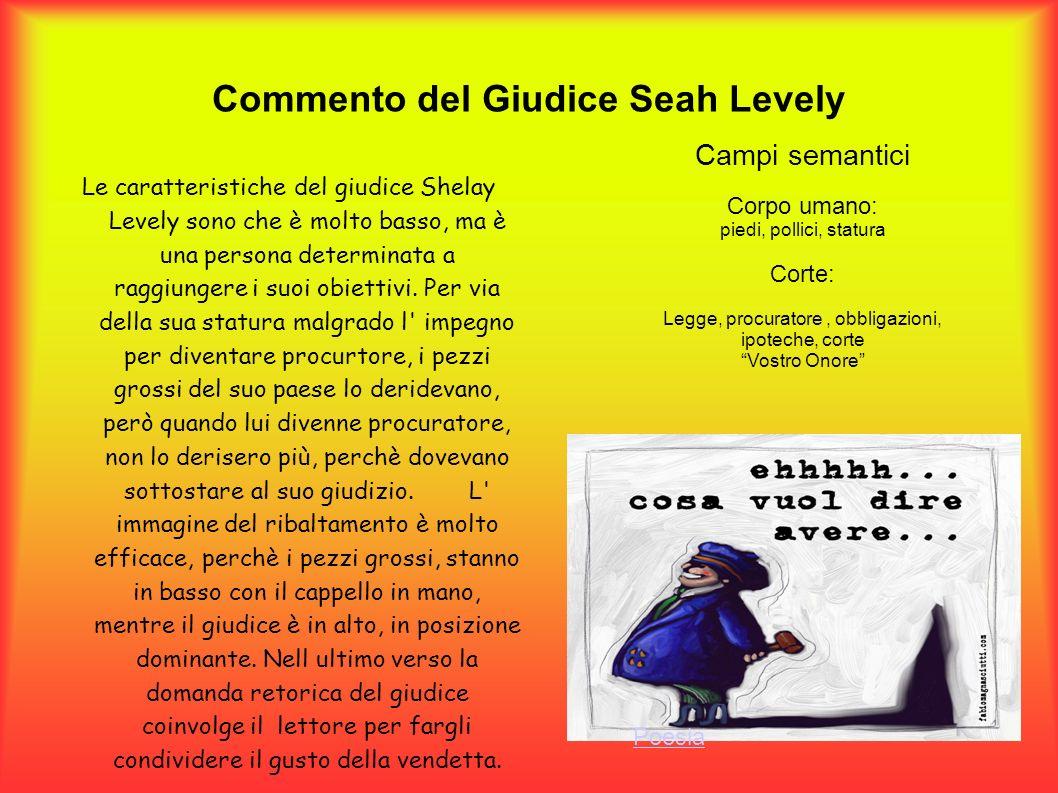 Commento del Giudice Seah Levely Le caratteristiche del giudice Shelay Levely sono che è molto basso, ma è una persona determinata a raggiungere i suo